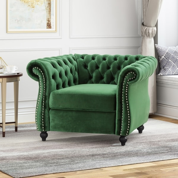 Westminster Chesterfield Velvet Club Chair by Christopher Knight Home