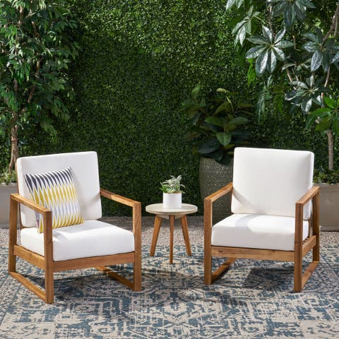 Belgian Outdoor Acacia Wood Club Chairs with Cushions (Set of 2) by Christopher Knight Home