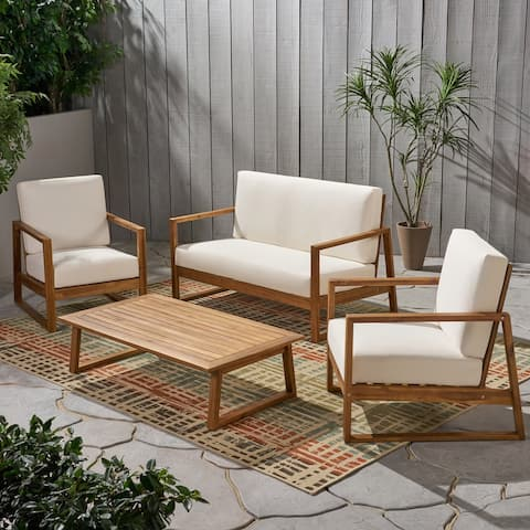 Belgian Outdoor 4 Seater Acacia Wood Chat Set with Coffee Table by Christopher Knight Home