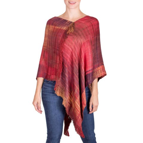 Handmade Beautiful Flame Rayon Poncho (Guatemala)