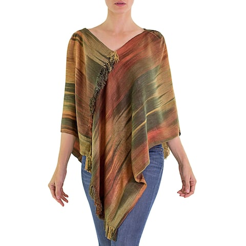 Ethereal Ginger Rayon Chenille Poncho