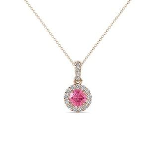TriJewels Pink Tourmaline Diamond Pendant 0 53 Ctw 18 14KR Gold Chain