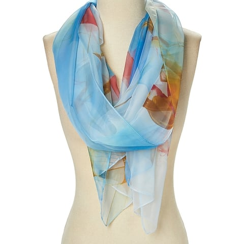 Lightweight Summer Scarf Polyester Floral Casual Fashion Cozy Scarf for Women - Large