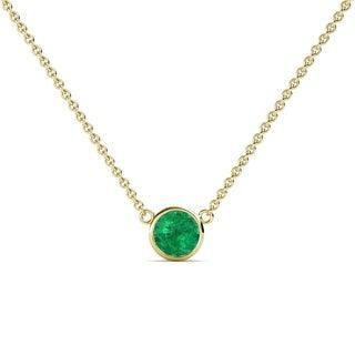 TriJewels Emerald Bezel Solitaire Pendant 0 40 Ct 16 14KW Gold
