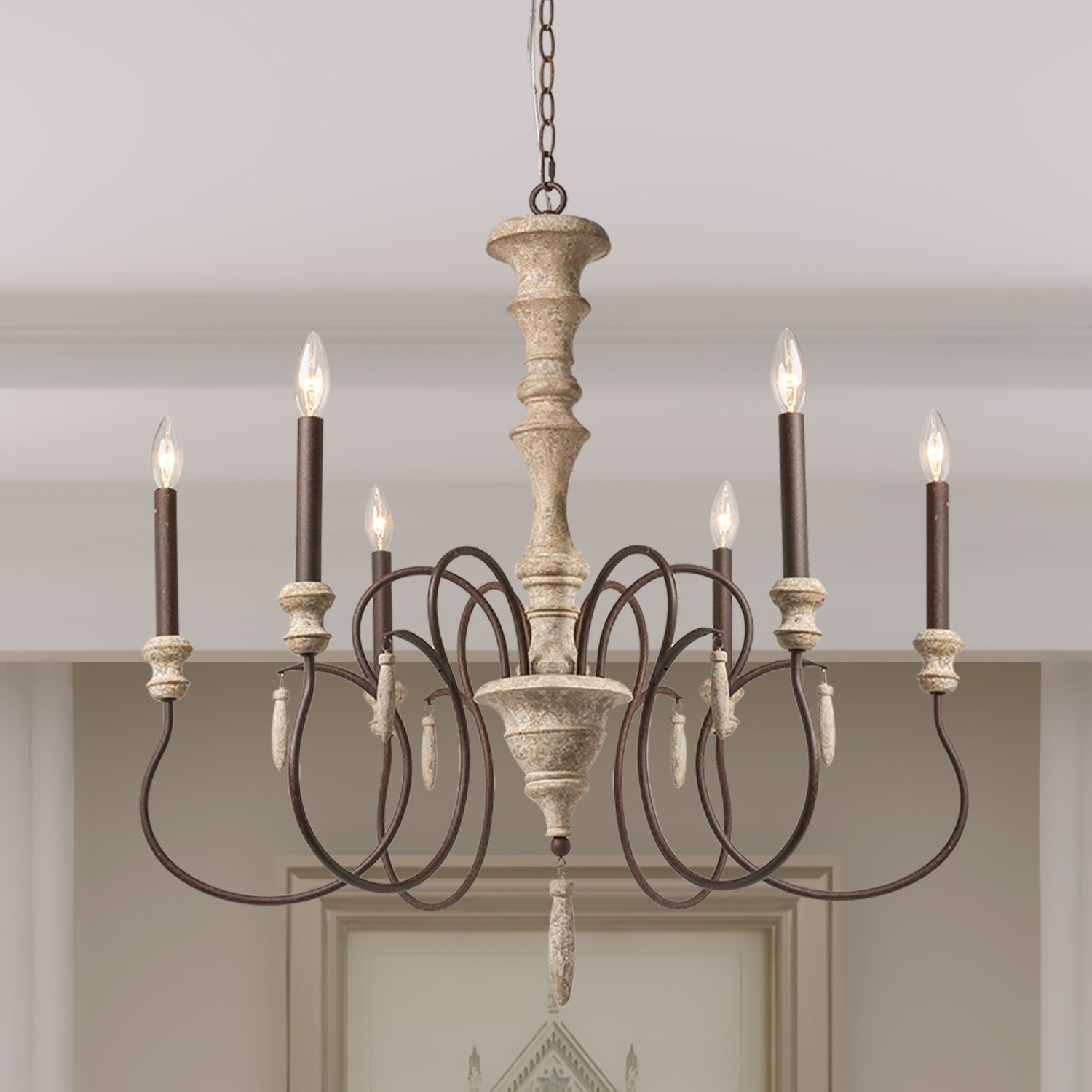 The Gray Barn Le View 6 Light Shabby Chic French Country Wooden Chandelier Lighting