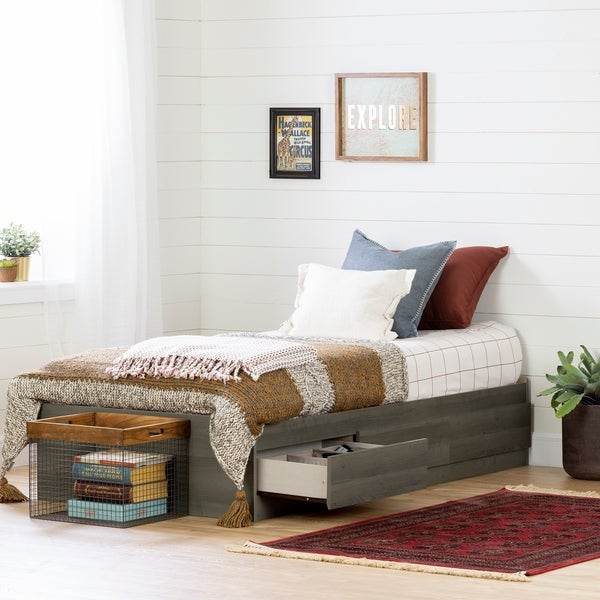 South Shore Volken Mates Bed with Drawers, Gray Maple Size - Twin