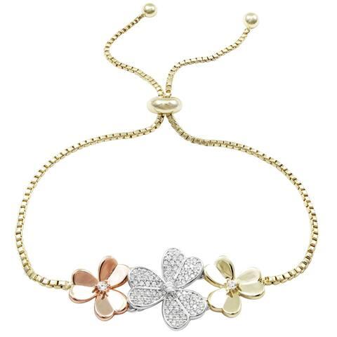 Luxiro Tri-color Finish Cubic Zirconia Adjustable Flower Bracelet