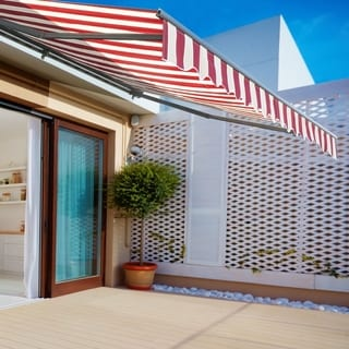 ALEKO Sunshade Half Cassette Retractable Patio Deck Awning 10x8 ft Multi-Striped Red
