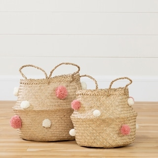 South Shore Storit Natural Seagrass, White and Pink Woven Belly Baskets - Set of 2