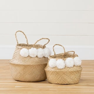 South Shore Storit Natural Seagrass and White Woven Belly Baskets - Set of 2