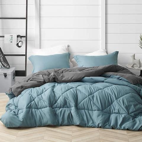 Smoke Blue/Granite Gray Reversible Oversized Comforter