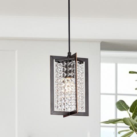 Lestin Oil Rubbed Bronze 1-light Pendant with Crystal Shade