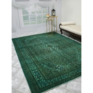 "Noori Rug Vintage Distressed Overdyed Azeez Green/Brown Rug - 6'10"" x 9'9"""