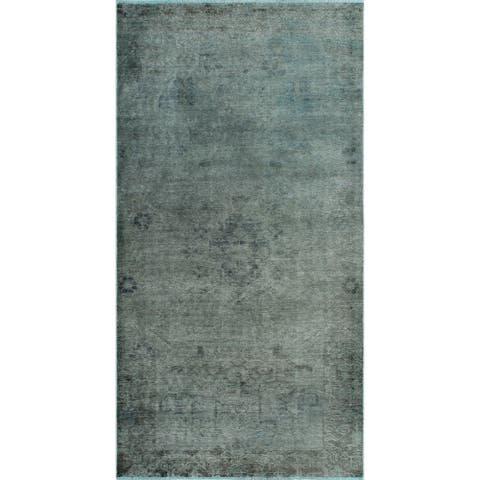 "Noori Rug Vintage Distressed Overdyed Mateen Grey/Blue Runner - 4'0"" x 7'9"""