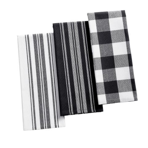 The Gray Barn Emily Gulch Stripe and Check Kitchen Towels (Set of 3)