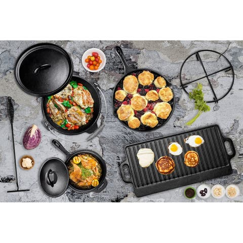 7 Piece Heavy Duty Cast Iron Camping Cooking Set with Box