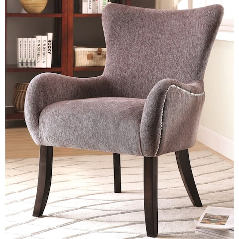 Casual Grey Chenille Upholstered Living Room Accent Chair with Nailhead Trim