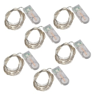 Battery Operated Multi Function Fairy String Lights- Cool White, Set of 6