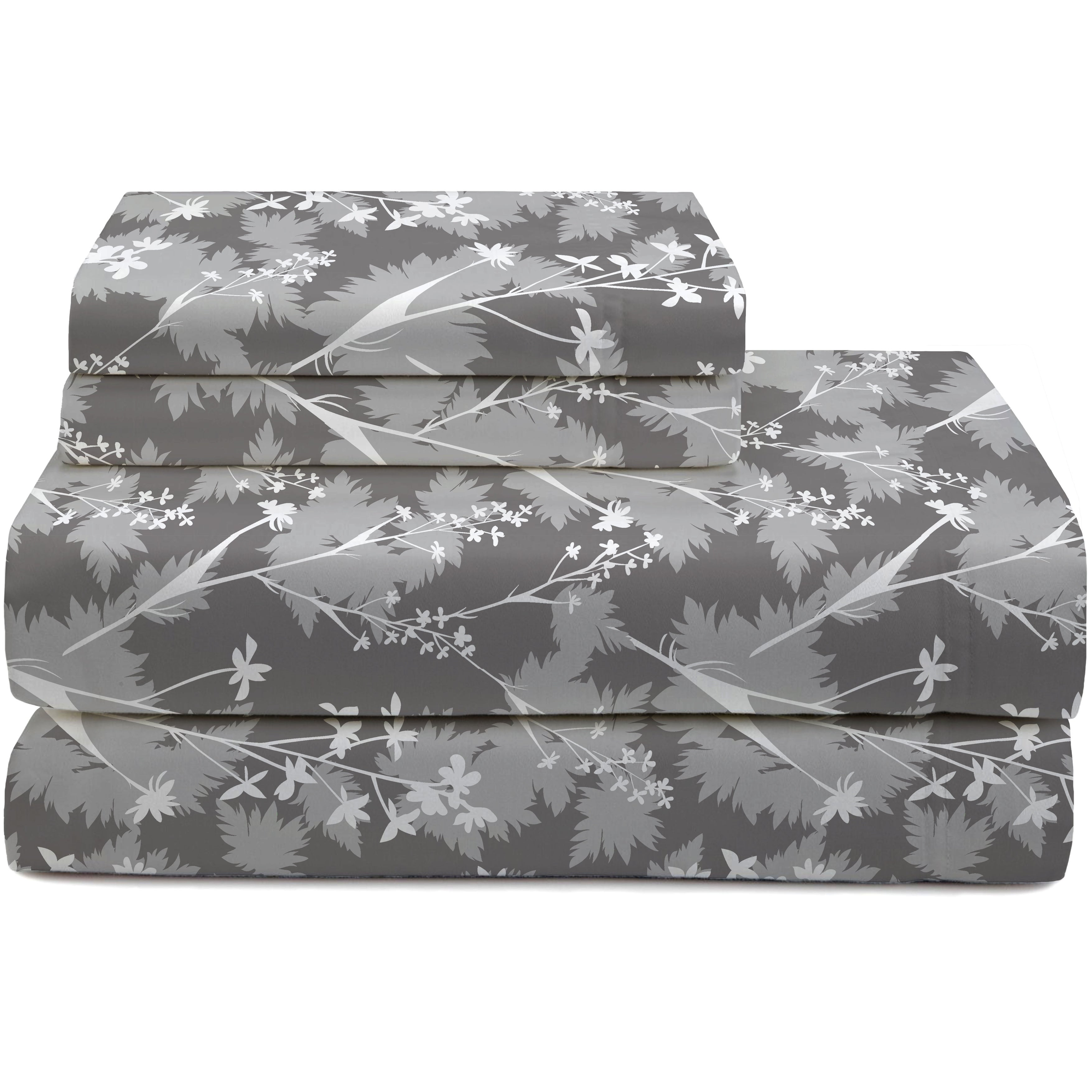 Shop Porch Den Simnasho Abstract Floral Flannel Sheet Set Size Full Overstock 28435848