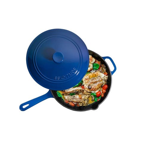 Enameled Cast Iron Skillet Deep Saute Pan with Lid