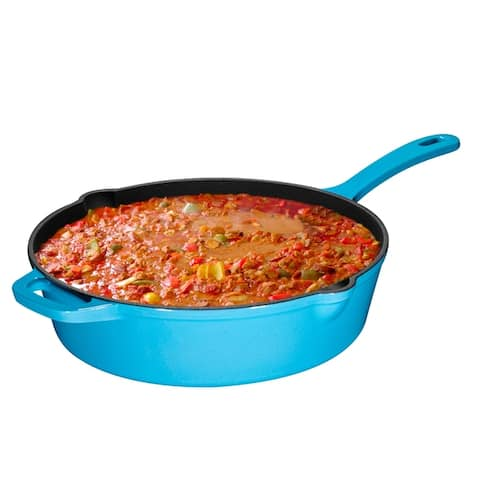 Enameled Cast Iron Skillet Deep Saute Pan with Lid - 12 inch