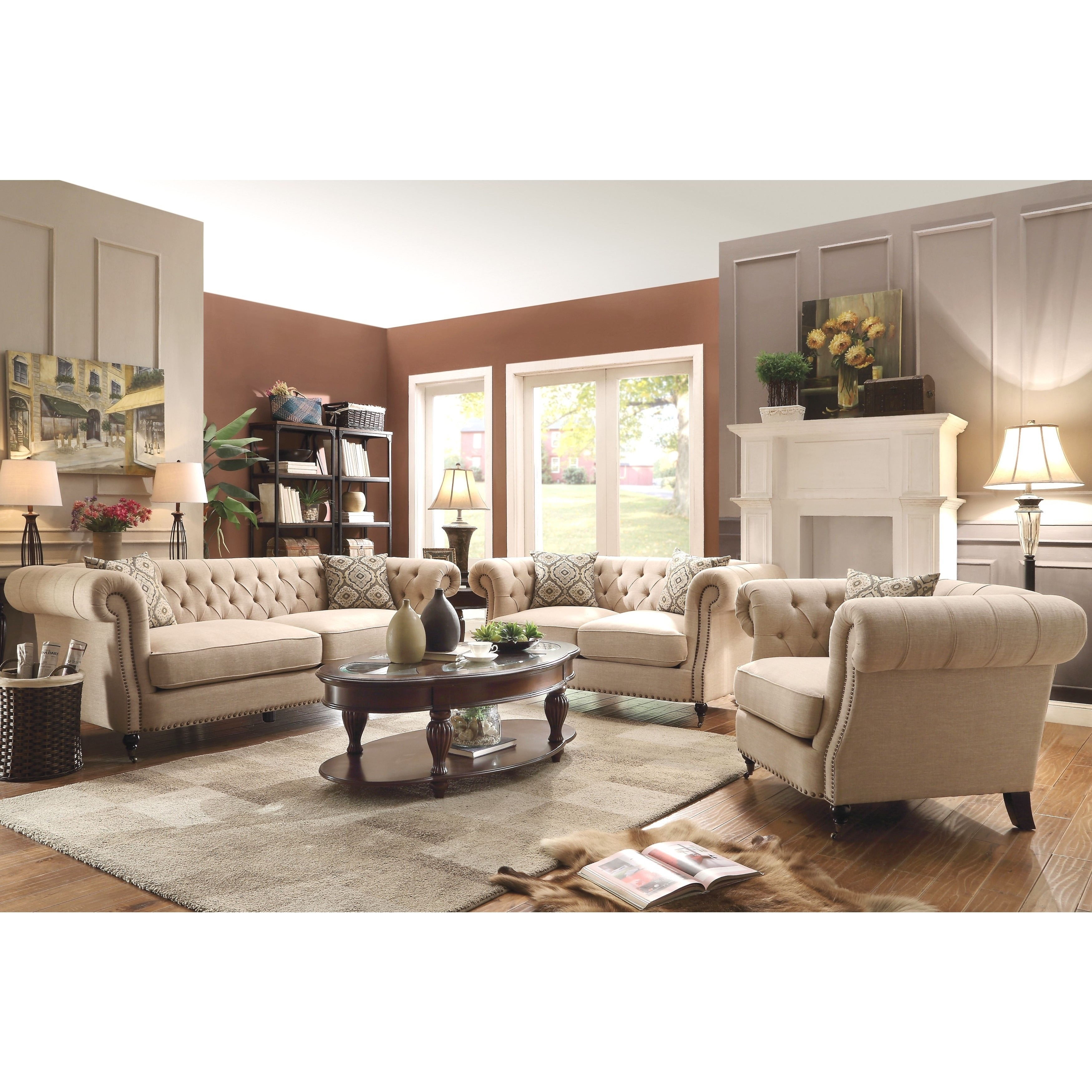 Mid-Century Posh Living Room Sofa Collection with Tufted Design and  Nailhead Trim