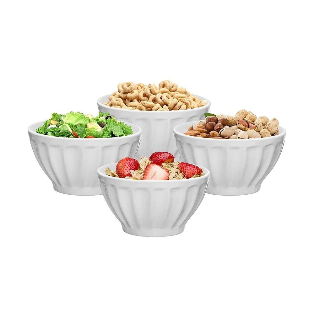 Rice Size : 4.25 inches Dessert Salad Oven Safe//Dishwasher Safe Soup 10 oz Bone China Bowl Set of 4 Sets of Cereals White