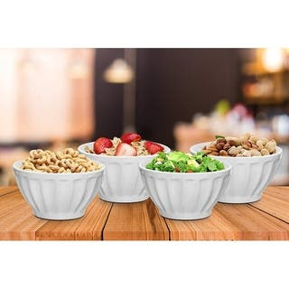 Everyday Ceramic Groove Bowls - Set of 4, 20 oz.