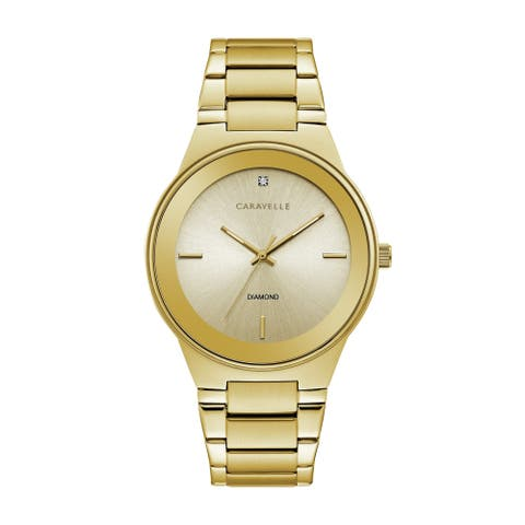 Caravelle by Bulova Mens 44D100 Gold-Tone Stainless Diamond Accent Bracelet Watch