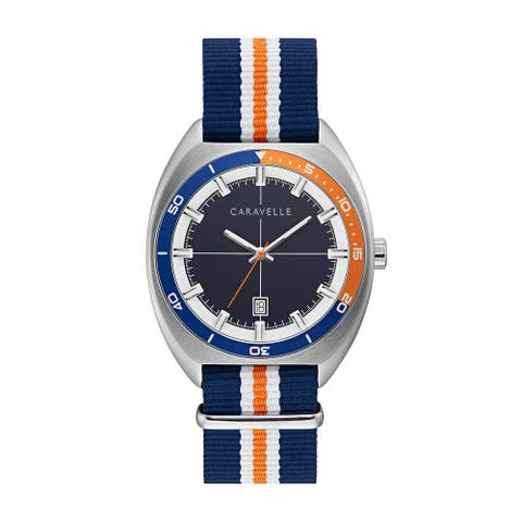 Caravelle by Bulova Mens 43B166 NATO Navy and Orange Nylon Strap Watch