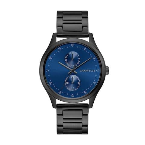 Caravelle by Bulova Mens 45C116 Black IP Stainless Multifunction Blue Dial Bracelet Watch