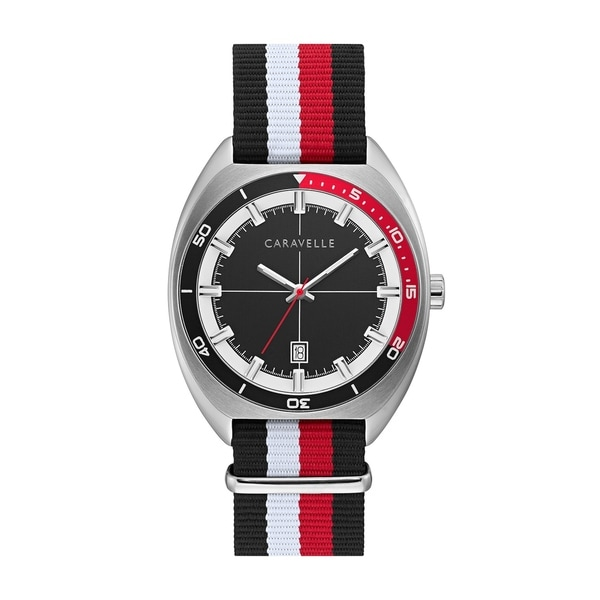 3f68bd265 Caravelle by Bulova Mens 43B168 NATO Blk, Red, White Nylon Strap Watch