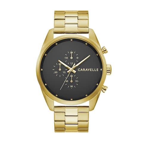 Caravelle by Bulova Mens 44A113 Gold-Tone Stainless Chrono Bracelet Watch
