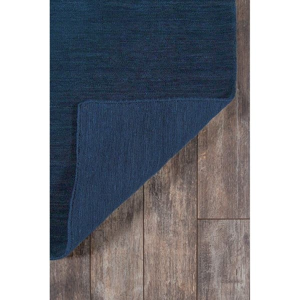 Navy Blue Hand Knotted Wool Area Rug
