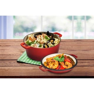2 in 1 Enameled Cast Iron Double Dutch Oven & Skillet Lid - 5 Quart