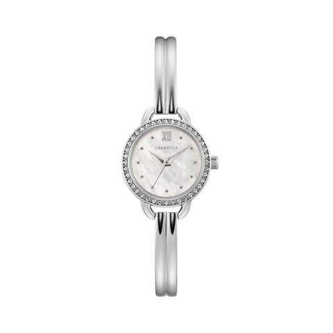 Caravelle by Bulova Womens 43L213 Stainless Crystal Bezel MOP Dial Bangle Watch