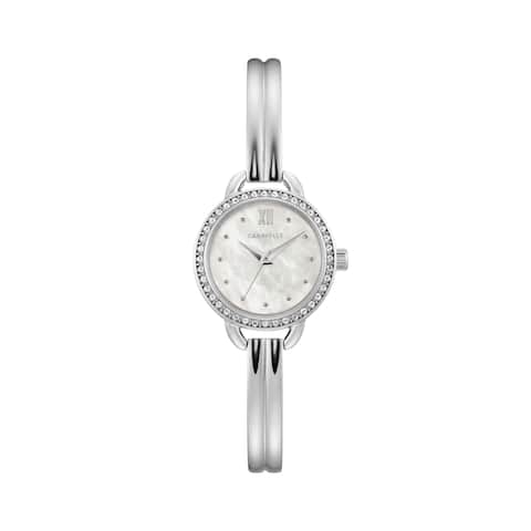 fded0ed33c6 Caravelle by Bulova Womens 43L213 Stainless Crystal Bezel MOP Dial Bangle  Watch