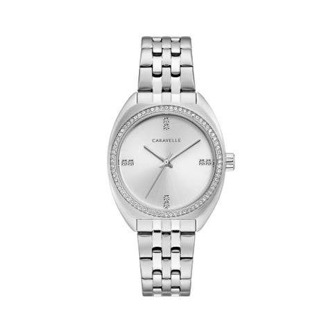 Caravelle by Bulova Womens 43L214 Stainless Crystal Accent Bracelet Watch
