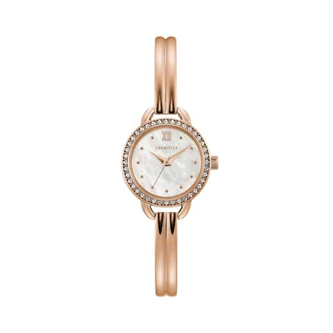 Caravelle by Bulova Womens 44L247 Rosegold Crystal Accent Bangle Watch