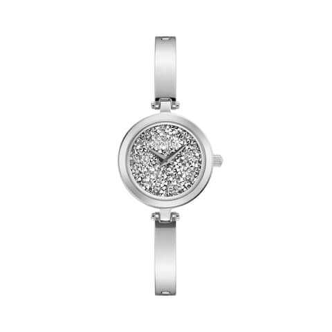 Caravelle by Bulova Womens 43L211 Stainless Rock Crystal Dial Bangle Watch
