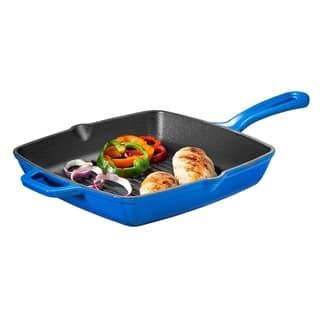 Bruntmor Enameled Cast Iron Square Grill Pan, 10-Inch, Cobalt Blue