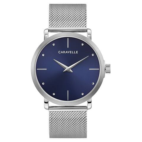 Caravelle by Bulova Mens 43A149 Stainless Blue Dial Mesh Bracelet Watch