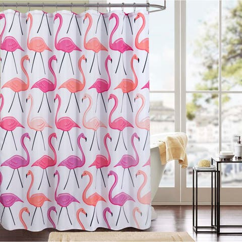 Flamingo Printed Canvas 13-Piece Shower Curtain Set