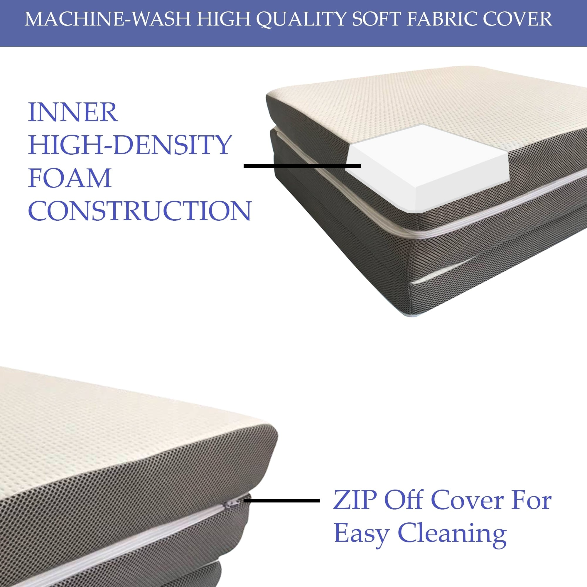 Picture of: Tri Fold Mattress Memory Foam Guest Pad Camping 4 Inch Topper Support Cover Bed Mattress Pads Feather Beds Bedding