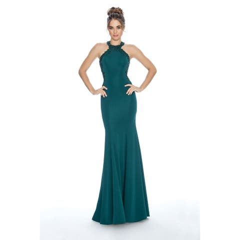 Stella Couture Halter Neck Prom Long Dress