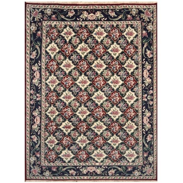 Handmade One-of-a-Kind William Morris Wool Rug (India) - 9' x 12'