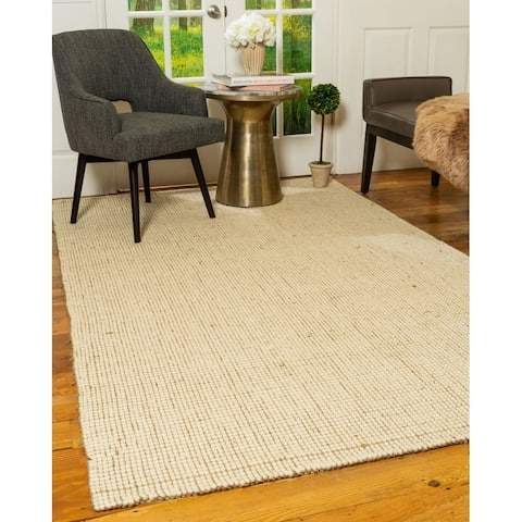 Natural Area Rugs 100 Percent Natural Fiber, Hand Loomed Leroy Beige Wool Jute Rug