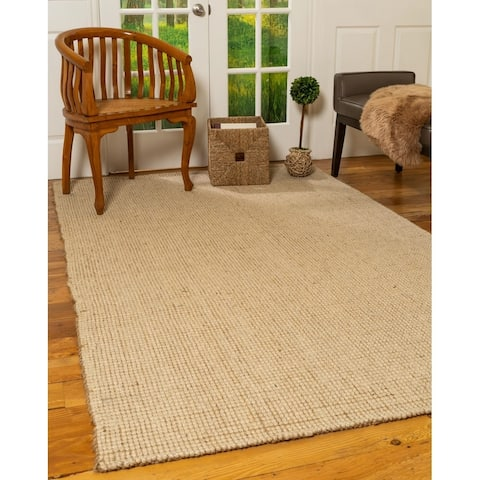 Natural Area Rugs 100 Percent Natural Fiber, Hand Loomed Larisa Beige Wool Jute Rug