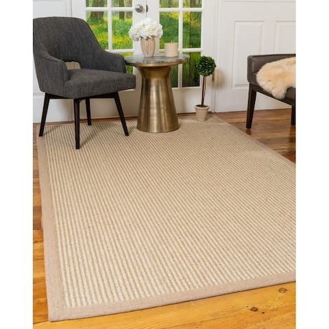 Natural Area Rugs 100 Percent Natural Fiber, Hand Loomed Wisdom Beige Jute Wool Rug