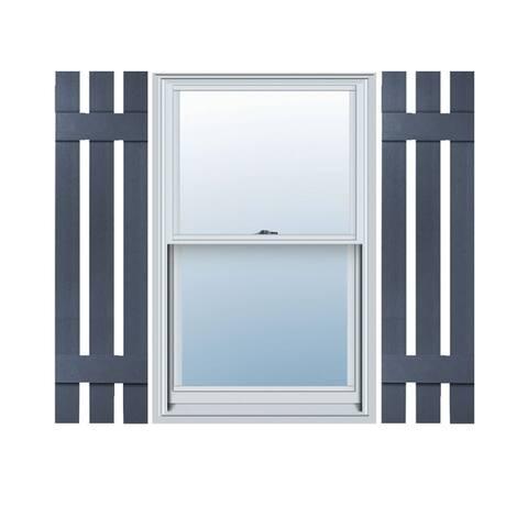 Builders Choice Vinyl Three Board Spaced Window Shutters (Pair)